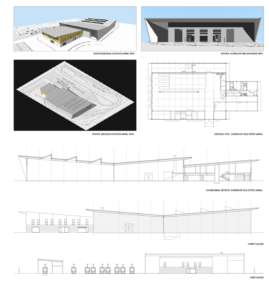 Workshop and garage building for tram-light rail Project of the construction plan