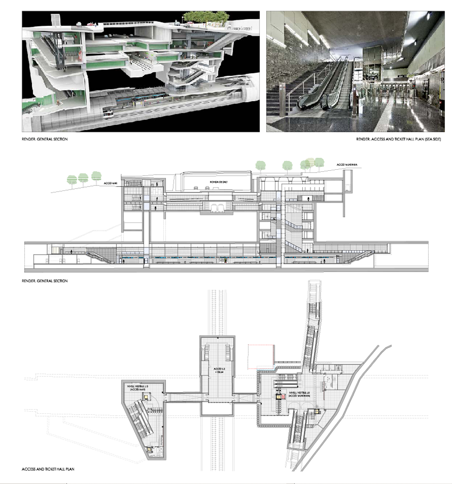 New station (Vall d'Hebrón) on line 5 of the Barcelona metro Drafting of the plan for architecture and facilities